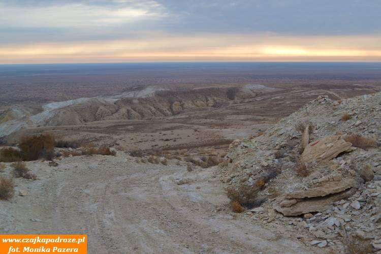Pustynia Aral-kum, dawniej dno Morza Aralskiego, oglądana zPłaskowyżu Ustjurt